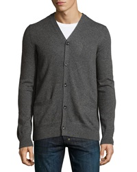 Vince Cashmere Button Front V Neck Cardigan Heather Carbon