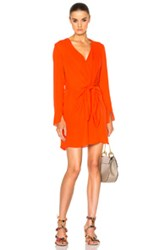 3.1 Phillip Lim Long Sleeve Front Knot Dress In Red