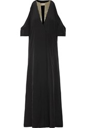 Zeus Dione Lyre Cold Shoulder Silk Crepe De Chine Maxi Dress Black