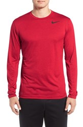 Nike Men's Long Sleeve Dri Fit Training T Shirt Night Maroon Gym Red Black