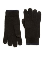 Saks Fifth Avenue Color Tipped Cashmere Gloves Charcoal Black Black