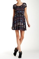 Iris Scoop Back Printed Dress Blue