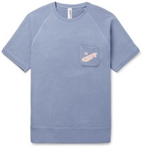 Beams Plus Loopwheeler Printed Loopback Cotton Jersey Sweatshirt Blue