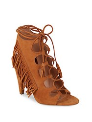 Sigerson Morrison Tassel Leather Ankle Boots Tan