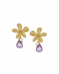 Indulgems Flower Earrings W Amethyst And Pearl Dangles Purple