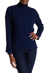 Joseph A Funnel Neck Popcorn Knit Pullover Sweater Blue