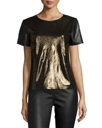 Lafayette 148 New York Lalaine Short Sleeve Metallic Leather Blouse Gold