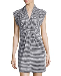 French Connection Chevron Tie Waist V Neck Dress Black White