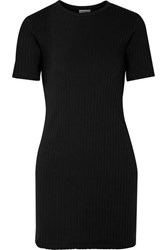 Re Done 60S Ribbed Cotton Jersey Mini Dress Black