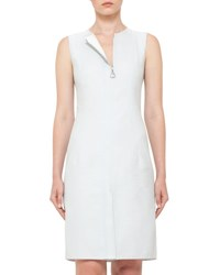 Akris Sleeveless Zip Front Sheath Dress Ice Blue Light