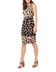 Phase Eight Leora Leaf Print Dress Black Camel