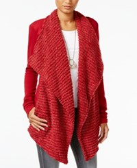 Lucky Brand Draped Open Front Cardigan Red Multi