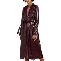 Nomia Stamped Faux Leather Trench Coat Red