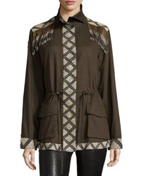 Haute Hippie Long Sleeve Embellished Cargo Jacket Dark Green