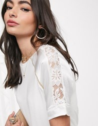 River Island Satin Top With Lace Inserts In White