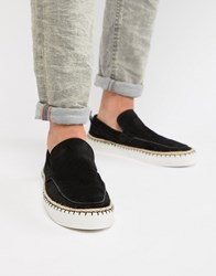 Asos Design Loafers In Black Suede With Aztec Detail