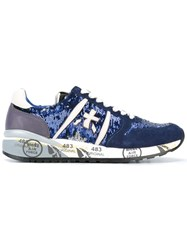 Premiata Sequinned Lace Up Sneakers Blue