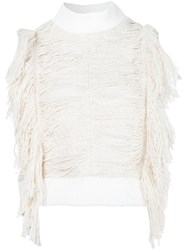 Sea Fringed Sleeveless Blouse White