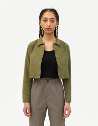 Which We Want Maria Crop Shirt In Moss Size Small 100 Cotton