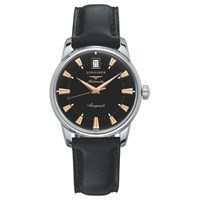 Longines L16114522 'S Conquest Heritage Automatic Date Leather Strap Watch Black