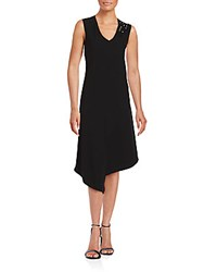 Rickie Freeman For Teri Jon Asymmetrical Hem Dress Black