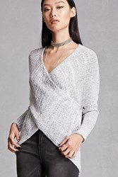 Forever 21 Filtre Surplice Sweater Grey