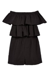 Topshop Ruffle Tiered Off The Shoulder Romper Black