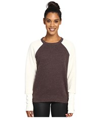 Alo Yoga Deck Long Sleeve Top Mink Heather Natural Women's Long Sleeve Pullover Brown