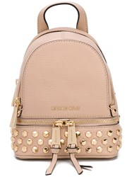 Michael Michael Kors 'Rhea' Zip Backpack Women Leather Metal One Size Nude Neutrals