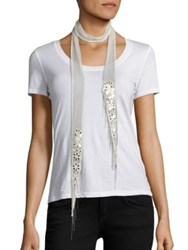 Chan Luu Skinny Floral Embroidered Chiffon Scarf Off White