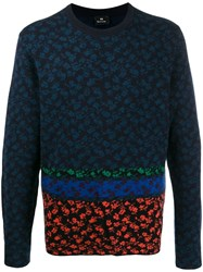 Paul Smith Ps Patterned Long Sleeve Jumper Blue