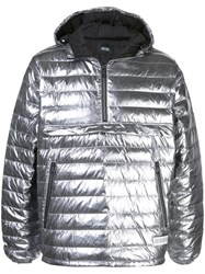 Mostly Heard Rarely Seen Quarter Zip Puffer Jacket Silver