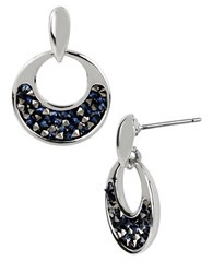 Kenneth Cole Silvertone Hoop Earrings With Faceted Bead Decoration Blue Black Silver