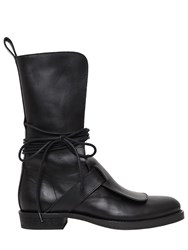 Ann Demeulemeester 20Mm Wrap Around Laces Leather Boots Black