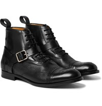 Alexander Mcqueen Panelled Leather Harness Brogue Boots Black