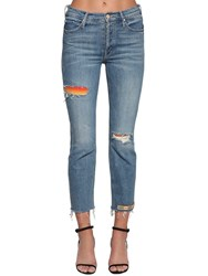 Mother The Mid Rise Button Fly Denim Jeans Light Blue