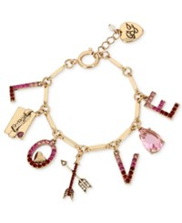 Betsey Johnson Gold Tone Love Letter Charm Bracelet Red