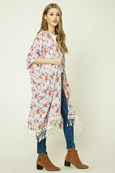 Forever 21 Floral Longline Kimono Red Blue