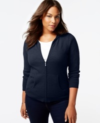 Charter Club Plus Size Cashmere Zip Front Hoodie In 5 Colors Only At Macy's Admiral Navy
