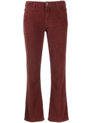 Haikure Flared Cropped Trousers Brown