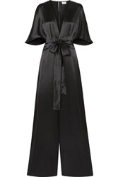Cami Nyc The Keri Twist Front Silk Charmeuse Jumpsuit Black