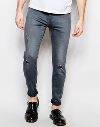 D.I.E. Storm Extreme Super Skinny Distressed Jeans In Worn Grey Grey