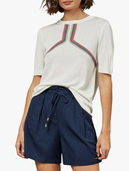 Ted Baker Sila Striped Knitted Top Natural Ivory