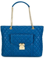Love Moschino Heart Quilted Tote Bag Blue