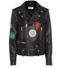 Saint Laurent Leather Biker Jacket With Appliques Black