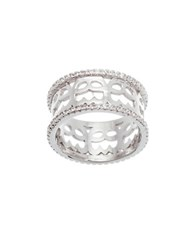 Lord And Taylor Cubic Zirconia Wavy Design Eternity Ring Silver