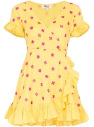 All Things Mochi Dory Printed Wrap Dress Yellow