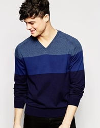 Dkny V Neck Jumper Colour Block Navy