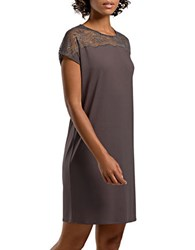 Hanro Short Sleeve Solid Nightgown Brown Stone