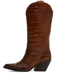Elena Iachi 70Mm Croc Embossed Leather Boots Brown